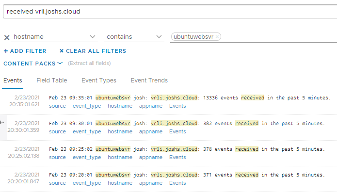 VMware vRealize Log Insight's interactive analysis function showing the logs are being received.